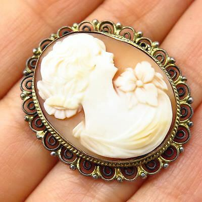 Antique Europe Sterling Silver Cameo Victorian Lady Pin Brooch