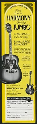 1970 Harmony Sovereign Jumbo and electric guitar photo vintage print ad