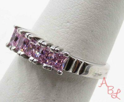 Sterling Silver Vintage 925 Channel Set Pink Stone Ring Sz 7 (3.1g) - 715759