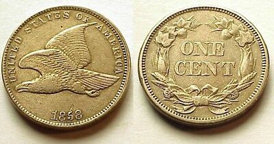 A/u 1858 Flying Eagle Cent-S/l-Very Attractive! Free Shipping!