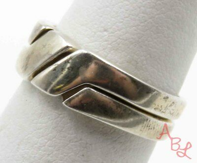 Sterling Silver Vintage 925 Two Piece Puzzle Ring Sz 7 (4.3g) - 715879