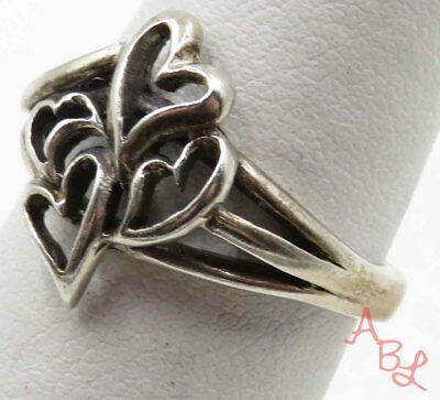Sterling Silver Vintage 925 Four Hearts Ring Sz 7 (3.2g) - 715887