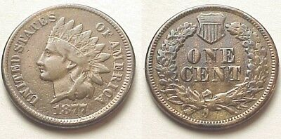Rare V/f 1877 Indian Head Cent- Key Date! Liberty! Free Shipping!