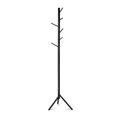 NEW 176cm Tall 3-legs Design Durable Wooden Coat Rack Clothes Stand Hanger Black