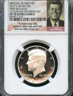 2017 S Silver Kennedy 10-Coin Silver Set F.R. NGC PF70 Ultra Cameo (Smiling)