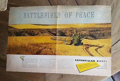 1948 Caterpillar diesel tractorJohn Deere Combine wheat fields Washington ad