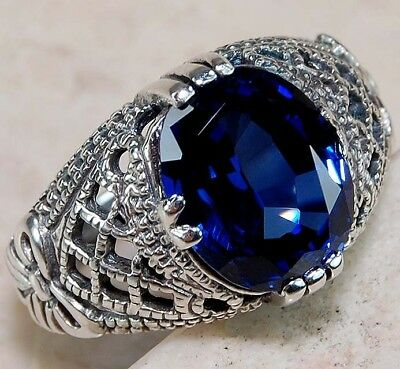3CT Blue Sapphire 925 Solid Genuine Sterling Silver Art Deco Ring Jewelry Sz 8