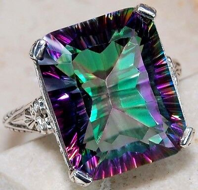 Color Changing Rainbow Topaz 925 Sterling Silver Filigree Ring Jewelry Sz 8