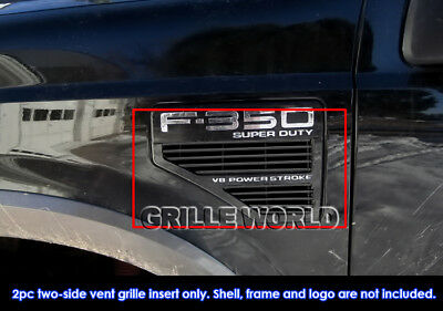 For 2008-2010 Ford F250/F350/F450/F550 Black Side Vent Premium Grille Grill