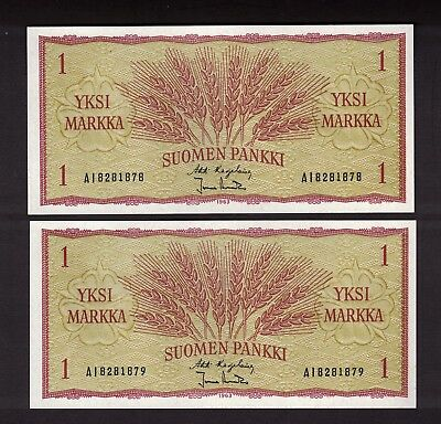 2 CONSECUTIVE FINLAND FINNISH 1963 1 MARKKA NOTES WHEAT EARS CHOICE UNC P.98a