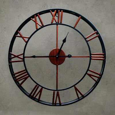 Antique Old Fashion EU Rustic Decal Wall Clock,Silent,Quartz, 16x2inch Red