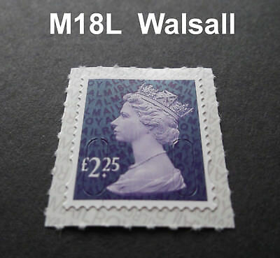2018  £2.25 Machin M18L Code WALSALL REPRINT SINGLE STAMP from Counter Sheet