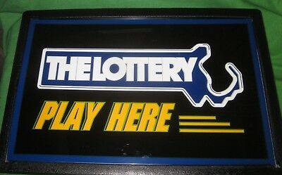 Massachusetts State Lottery Lighted Sign NEW OLD STOCK in Box