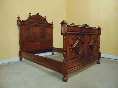Outstanding Carved  Bed French Walnut C1890