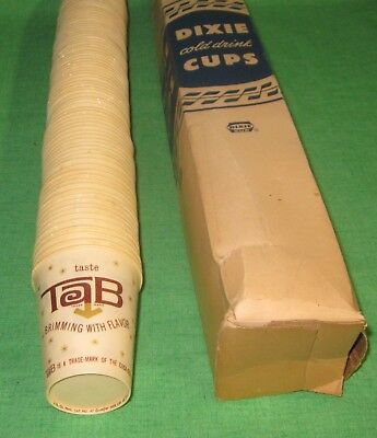 1960's TAB Diet Soda Boxed Sleeve of 90 Waxed Paper Cups 4 oz. *New Old Stock*