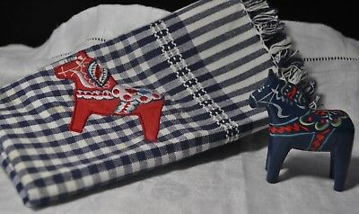 Vintage Blue Swedish Dala Horse Fringe Cotton Large Napkin Red Dala Horse