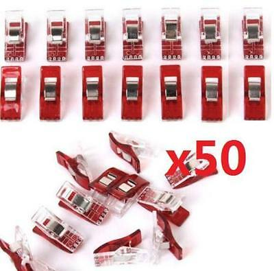 50Pcs/Set Plastic Clear Sewing Craft Quilt Binding Plastic Clips Clamps Pack ~