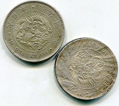 Japan lot of (2) Very unusual silver Yen year 11 & 13 both two parts  lotmar2840