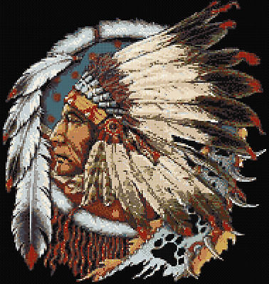 Indian Chief Counted Cross Stitch Kit Cultural Art North American People