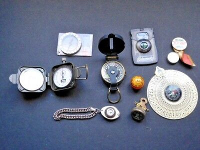 Lot of 9 Vintage Marbles Compass, Coleman, Silva, Occupied Japan, Engineer's