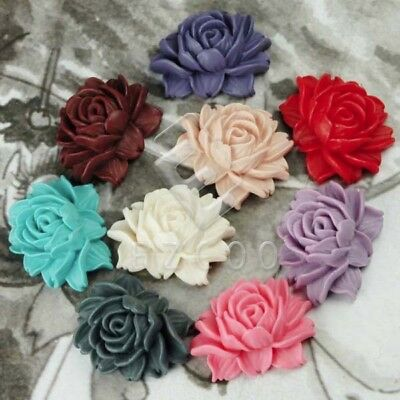 15pcs 14.5mm Flatback Vintage Rose Flower Cameo Resin Cabochons Jewelry Findings