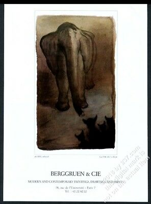 1986 Alfred Kubin elephant art Paris gallery show vintage print ad