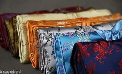 New 5PCS SILK JEWELRY TRAVEL BAG Roll Case Pouch Carrying Brocade Fabric Flower