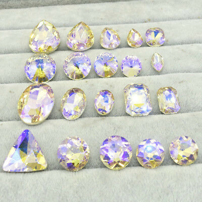 Wholesale Champagne AB ELEMENTS Crystal glass Beads Rivoli/Oval /Teardrop/Round