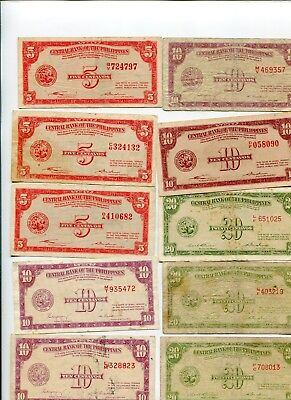 Philippines english fractional notes lot of (10)  lotmar707