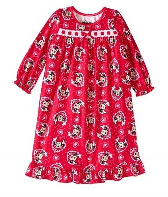 NWT  Disney Girls Size 2T Minnie Mouse Hearts Flannel Nightgown Pajamas NEW