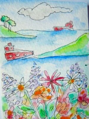 ACEO original watercolour painting - Coastal walk - by Polly