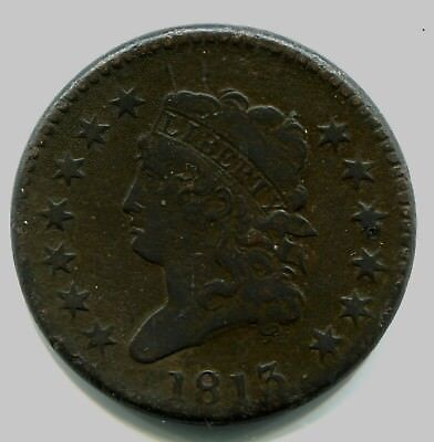 1813 Classic Head Large Cent Fine to VF Detail heavily corroded