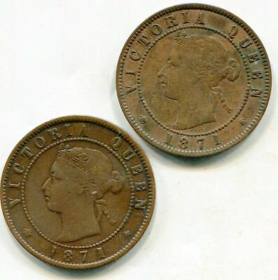 Prince Edward Island large cents 1871 lot of (2) nice coins lotmar3099