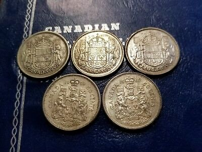 Lot Of 5 Canadian Silver 50 Cents 1956, 1957, 1958, 1959 & 1960