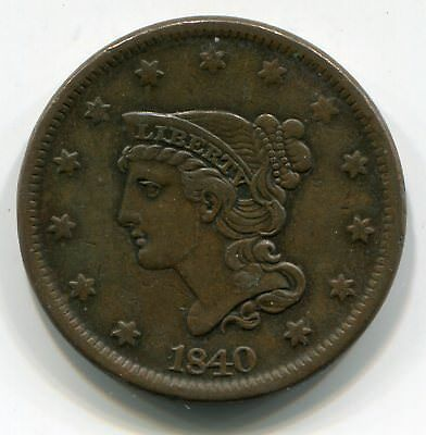 1840 Braided Hair Large Cent EF Detail cleaned a long time ago