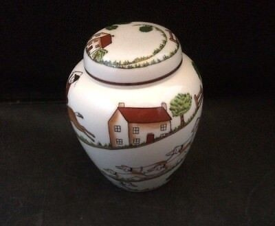 "Crown Staffordshire ""hunting Scene""  Small Ginger Jar & Lid (Brown Horse)"