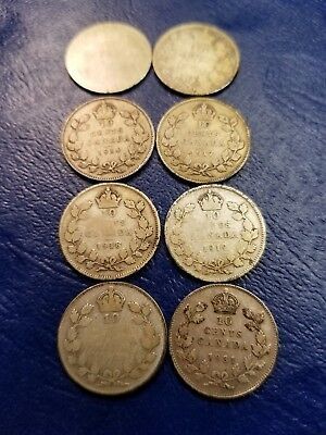 Lot Of 8 Different Dated Canadian Silver 10 Cents 1890-1931 Coin Board Included