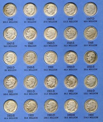 Complete Silver Roosevelt Dime Collection 1946 To 1964