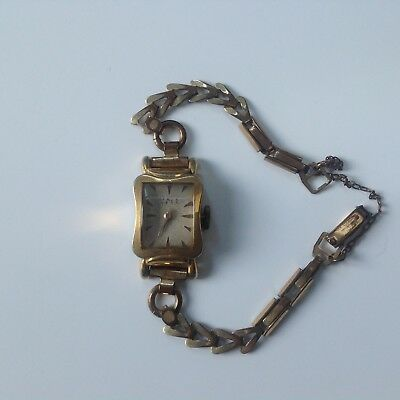 Vintage Art Deco Rolled Gold Swiss Made Ladies Watch for spares or repair