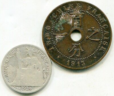 French Indo China lot of (2) vintage coins  lotmar3039