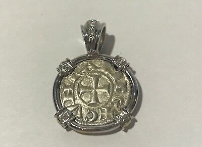 Ancient Crusader Denaro Italian Coin in 18 KT White Gold, 7 Diamonds Pendant