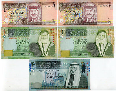 Jordan 5 Unc Replacement Notes 1/2-1-20 Dinars 1993 1997 2011 2013 P-22,27,34,37