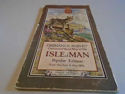 antique ordnance survey map of Isle of Man 1920s