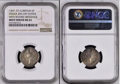 Great Britain 1831-37 6 Pence Error 20% off-Centre and Reverse Brockage NGC MS62