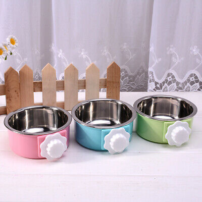 Stainless Steel Pet Feeding Fixed Bowl Cage Food Water Feeder-Dog Cat Rabbit LG
