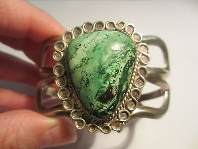 Fine Vintage Hand Made Sand Cast Navajo Sterling&turquoise Cuff-Heavy&nice Stone