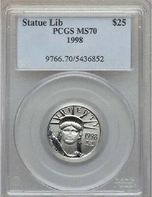 1998 PLATINUM EAGLE PCGS MS70 *POP only 44Coins * STATUE OF LIBERTY