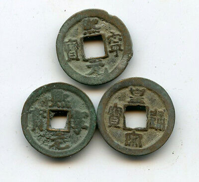 Lot of 3 authentic ancient copper cash coins, Song dynasty (960-1127 AD), China
