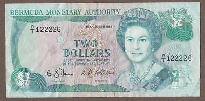 1988 Bermuda 2 Dollar Note