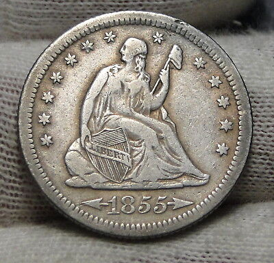 1855S Seated Liberty Quarter 25 Cents - Nice Rare Coin, 396,400 Minted (6781)